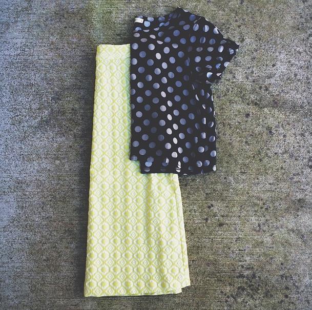 chartruese + polka dots